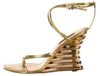 Louis Vuitton Metallic Wedge Sandals
