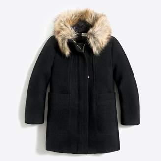 J.Crew Factory Girls' faux-fur collar coat