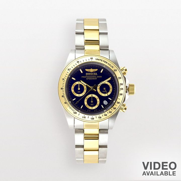Invicta speedway 18k gold over stainless steel & stainless steel chronograph watch - 3644 - men