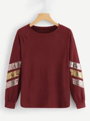 Shein Plus Contrast Sequin Raglan Sleeve Sweatshirt