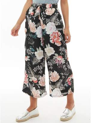 Brave Soul Womens Dora All Over Print Cropped Satin Trousers Black/Floral