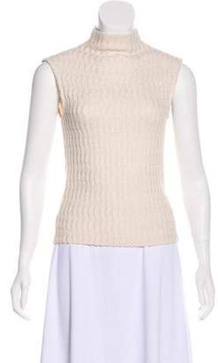 St. John Cable Knit Sleeveless Sweater