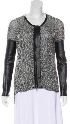 Robert Rodriguez Vegan Leather-Trimmed Knit Cardigan