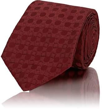 Kiton Men's Geometric-Pattern Silk Repp Necktie