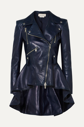 Alexander McQueen Leather Peplum Biker Jacket - Navy