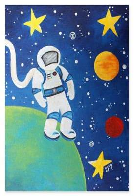 Marmont Hill Space Man 16-Inch x 24-Inch Canvas Wall Art