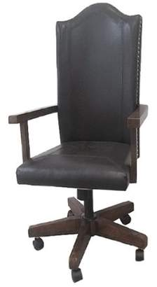 Emerald Home Castlegate Pine Brown Office Chair with Faux Leather Upholstery And Nailhead Trim