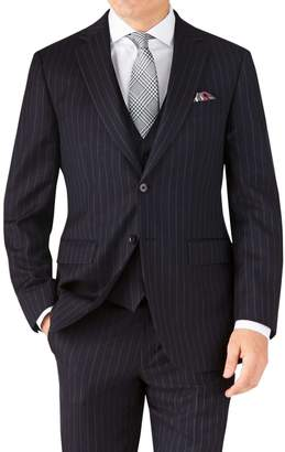Charles Tyrwhitt Navy Stripe Classic Fit Twill Business Suit Wool Jacket Size 40