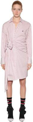 MSGM Striped Cotton Poplin Shirt Dress W/ Bow