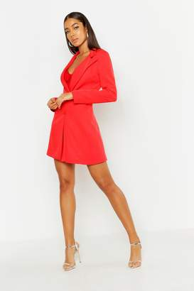 boohoo Woven Long Sleeve Cover Button Blazer Dress