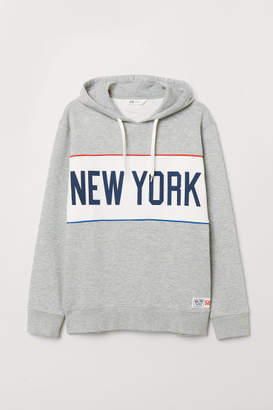 H&M Printed Hooded Sweatshirt - Gray