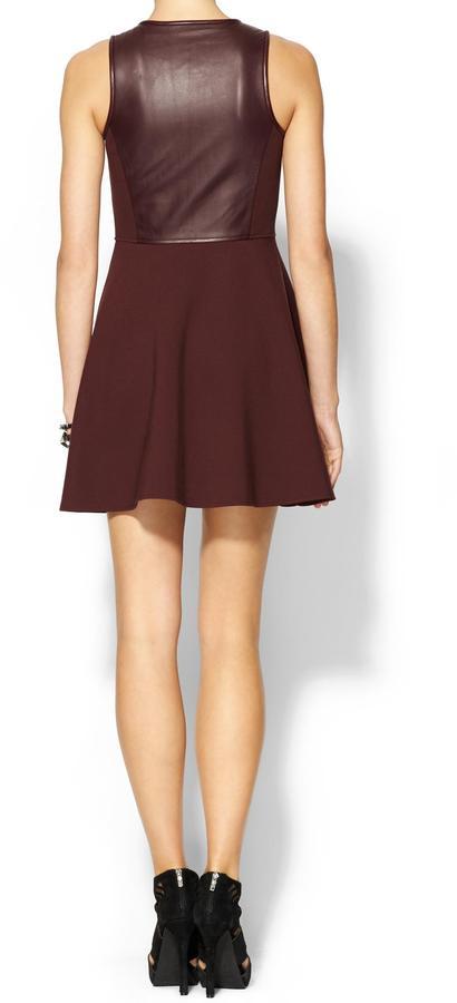 Tibi Leather With Ponte Sleeveless Dress
