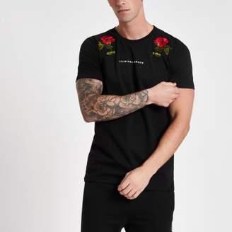 Criminal Damage black rose T-shirt