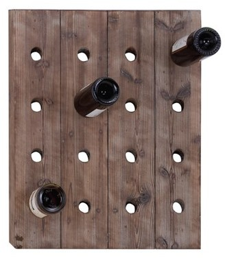 "DecMode 25"" x 21"" Rustic Reclaimed Wood Hanging Wine Rack | 16 Bottle Pegboard"