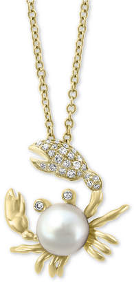 "Effy Cultured Freshwater Pearl (6mm) & Diamond (1/10 ct. t.w.) Crab 18"" Pendant Necklace in 14k Gold"