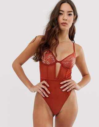 Asos Design DESIGN Elvita cut out lace & mesh plunge underwire thong back bodysuit