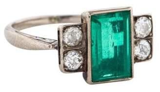 Ring 10K Art Deco Emerald & Diamond Cocktail