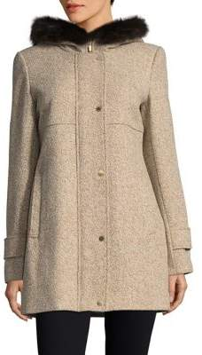 Ellen Tracy Plus Wool-Blend Dyed Blue Fox Fur Trimmed Car Coat