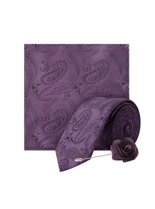 Dorothy Perkins Womens **Burton Purple Wedding Paisley Design Tie And Matching Pocket Square With A Flower Pin