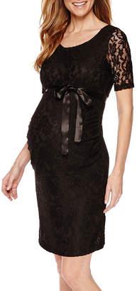 PLANET MOTHERHOOD Planet Motherhood Elbow Sleeve Lace Dress with Bow Belt - Maternity