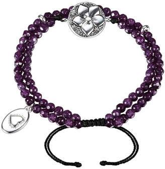 Footnotes Purple Silver Tone Beaded Bracelet
