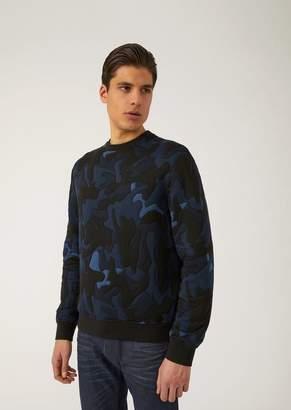 Emporio Armani Cotton Blend Sweatshirt With Camouflage Jacquard Pattern