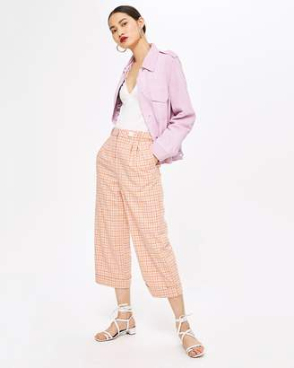 Topshop Check Crop Wide Trousers