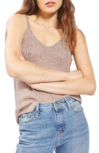TopshopWomen's Topshop Metallic Knit Camisole
