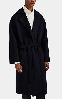 Nanushka Men's Timo Wool-Silk Belted Overcoat - Navy