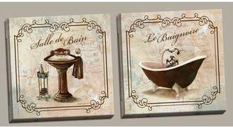 Laundry by Shelli Segal Red Barrel Studio 'Classic Prints for Decorating Bathroom; Salle De Bain and Le Baignoire' Acrylic Painting Print Set Format: Gold Brown Framed Paper,