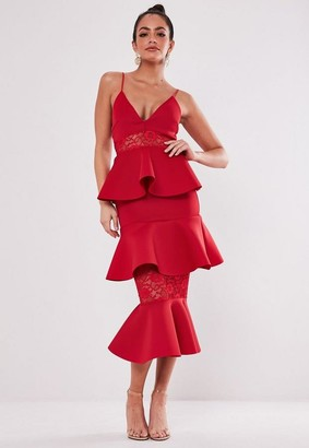 Missguided Red Lace Panel Scuba Tiered Midi Dress