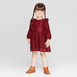 Cat & Jack Toddler Girls' Lace Dress - Cat & JackTM Maroon