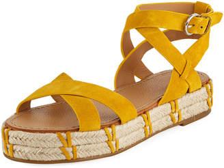 Sigerson Morrison Jacky Ankle-Wrap Platform Sandals