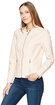 Calvin Klein Women's Faux Leather Zip Front Jacket with Hardware