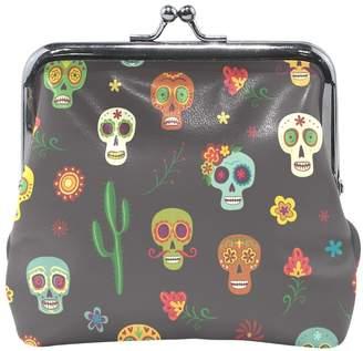 AHOMY Coin Purses Mexican Sugar Skull Cacti Flower Kiss-lock Buckle Clutch Cosmetic Bags