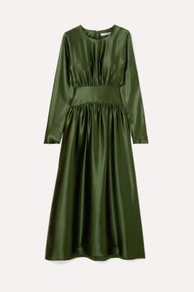 Deitas - Hermine Pleated Silk-satin Midi Dress - Dark green