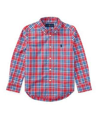 Ralph Lauren Poplin Plaid Button-Down Shirt, Red, Size 2-4