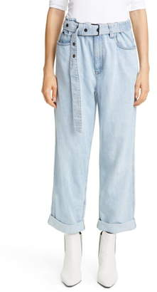 Brunello Cucinelli Belted High Waist Relaxed Straight Leg Jeans