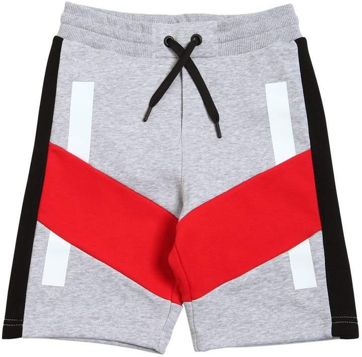 Color Blocked Cotton Sweat Shorts