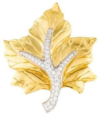 18K Diamond Maple Leaf Brooch