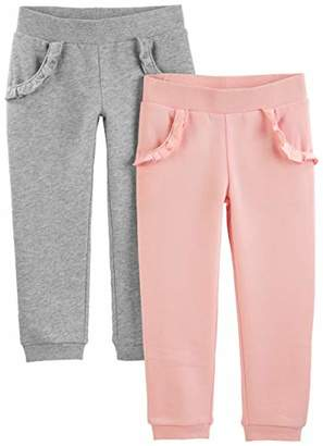 Carter's Simple Joys by Girls' Toddler 2-Pack Pull on Fleece Pants