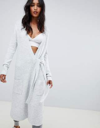 Micha Lounge Wrap Maxi Cardigan With Tie Side