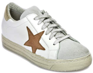 275 Central - BUP71 - White Leather Sneaker Pink Star