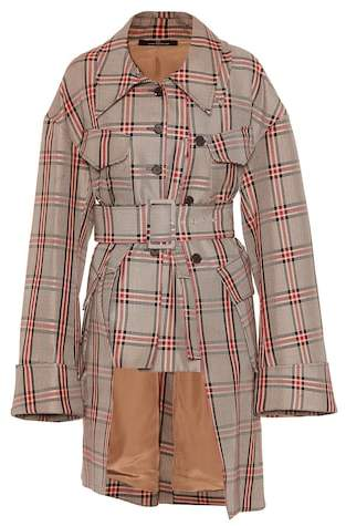 Rokh Checked cotton-blend coat