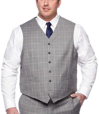 STAFFORD Stafford Gray Blue Windowpane Classic Fit Suit Vest - Big & Tall