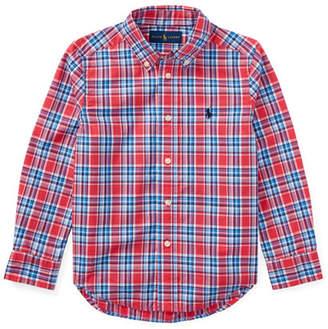 Ralph Lauren Poplin Plaid Button-Down Shirt, Red, Size 2-4