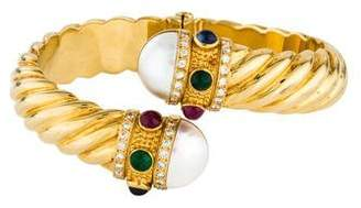 18K Sapphire, Emerald, Diamond & Mabé Pearl Hinged Bypass Cuff