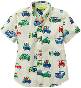 Boden Mini Boys' Fun Car Print Short Sleeve Shirt, Multi