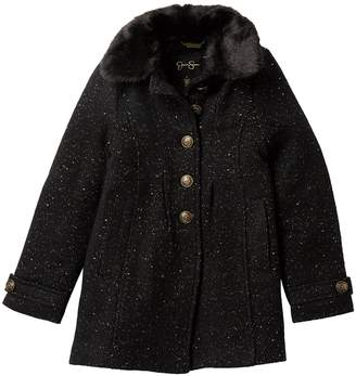 Jessica Simpson Gold Fleck Faux Wool and Faux Fur Collar Coat (Big Girls)