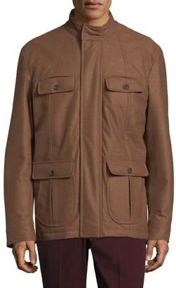 Isaia Men's Field Solid Wool Jacket